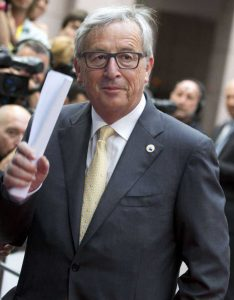 European Commission President Jean-Claude Juncker arrives for an emergency summit of eurozone heads of state or government at the EU Council building in Brussels on Tuesday, July 7, 2015. Greek Prime Minister Alexis Tsipras was heading Tuesday to Brussels for an emergency meeting of eurozone leaders, where he will try to use a resounding referendum victory to eke out concessions from European creditors over a bailout for the crisis-ridden country. (AP Photo/Virginia Mayo)