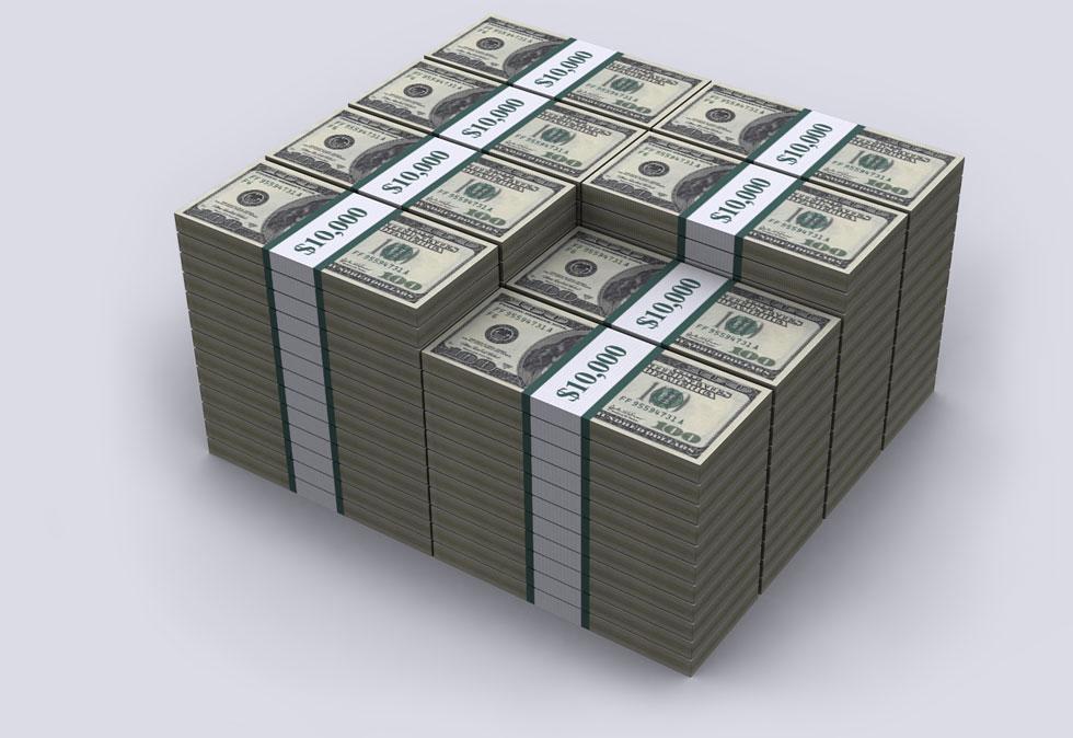 JAV įsiskolinimas vizualizuotas 100 JAV dolerių kupiūrose